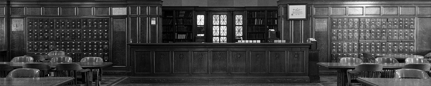 Librarian's office and card catalog from 1930