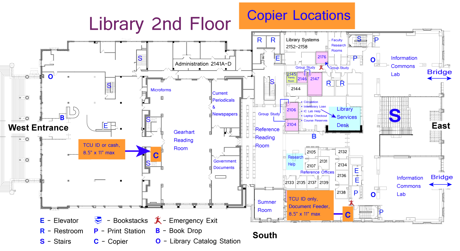 library floor plans maps and directions tcu mary couts burnett visitor stations catalog and database search