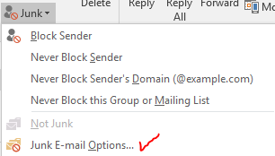 """Junk E-mail Options"" selection"