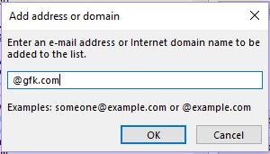 Add address or domain box
