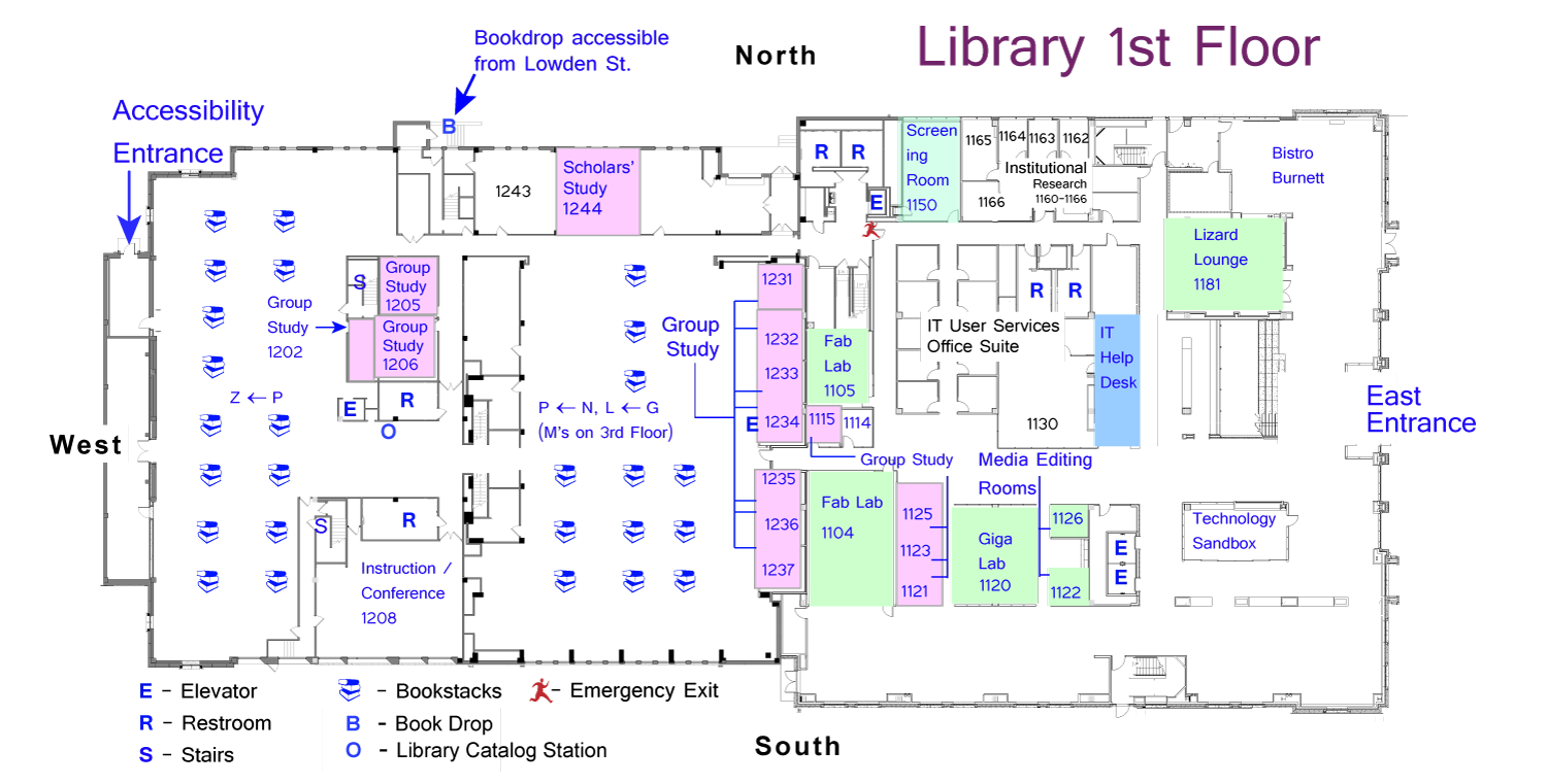 Floor Plans Library Locations And Directions Tcu Mary Couts Burnett Library