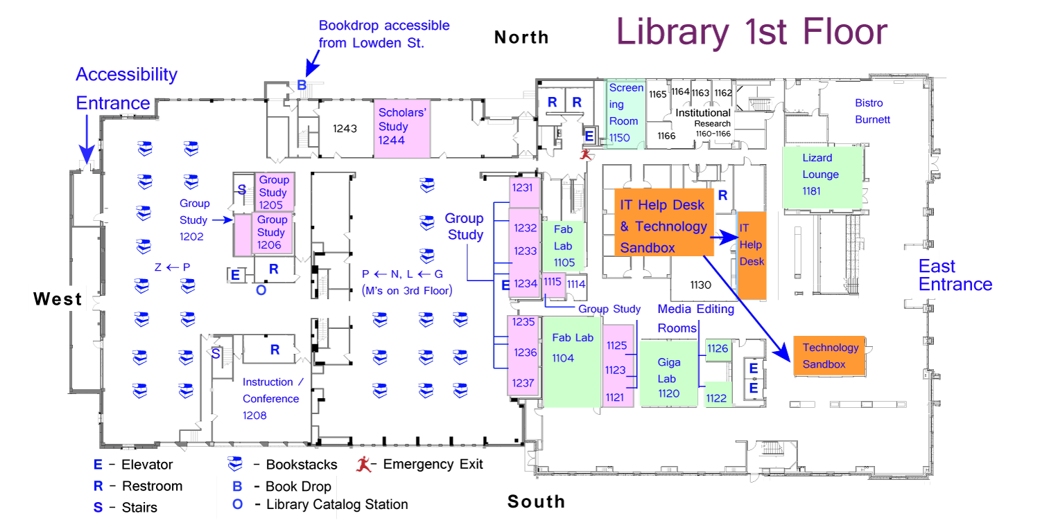 Library Floor Plans, Maps, and Directions | TCU Mary Couts Burnett ...
